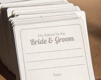 50 square My advice for the BRIDE & GROOM Coasters, (Letterpress printed, 3.5 inch) set of 50
