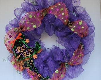 Halloween wreath, mesh Halloween wreath,  door decoration, front door wreath, Halloween decoration, door hanging, outdoor door wreath