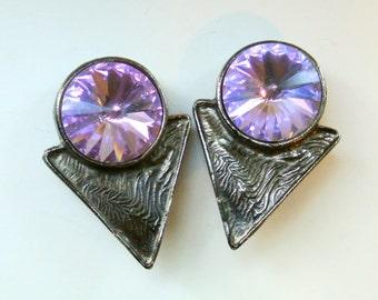 Vintage Richard Serbin Lavender Rivoli Rhinestone Earrings