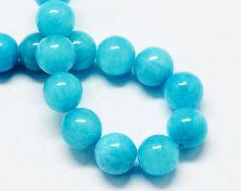 20 Jade Beads 8mm Ocean Blue Gemstone Beads 8mm Set of 20 - BD983