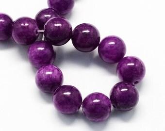 20 Jade Beads 6mm Purple Gemstone Beads 6mm Set of 20 - BD976