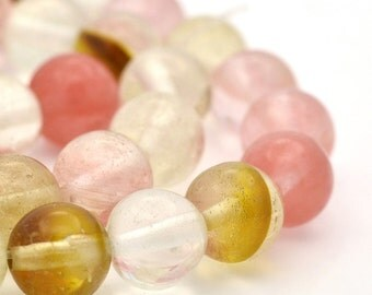 25 Watermelon 8mm Tourmaline Beads Multicoloured Stunning - BD912