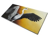 Heron realistic wildlife art with sunset 10x20