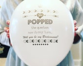 Bridesmaid Invitation Balloon with Card and Colored Envelope to Pop the Question in Silver