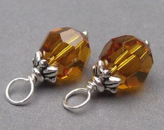 Swarovski Topaz Crystal Wire Wrapped Bead Dangles, November Birthstone Charms, Interchangeable Earrings, 8mm Swarovski Crystal Beads