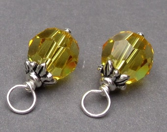 Swarovski Crystal Charms, Light Topaz Wire Wrapped Bead Dangles, November Birthstone Charms, Interchangeable Earrings, 8mm Swarovski Beads