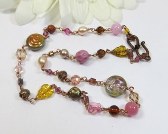 Autumn Necklace, Copper Necklace w Swarovski Crystal, Czech Glass & Freshwater Pearls, Delicate Wirewrapped Copper Pink Peach Necklace