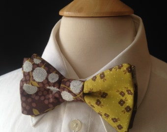 Floral Bow Ties / Wedding Bow Ties /Country wedding / Green Gray And Brown Bow Tie / Pre-Tied Bow Ties / Handmade Bow Ties / Bow Ties Men