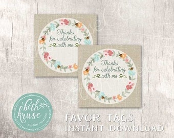 Floral Pumpkin Printable Favor Tags INSTANT DOWNLOAD by Beth Kruse Custom Creations