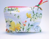 Zipper Pouch, Make Up Bag, Yellow Floral Bag, Coin Purse, Cosmetic Zipper Pouch