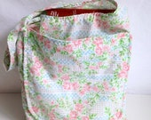 Reusable Grocery Bag, Pink Floral and Polkadots, Market Bag, eco friendly bag, fabric tote bag
