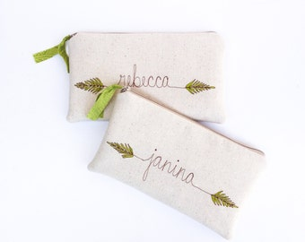 Fern Embroidered Clutch, Personalized Bridesmaid Gift, Botanical Wedding Purse, Unique Bridesmaid Clutch Purse MADE TO ORDER