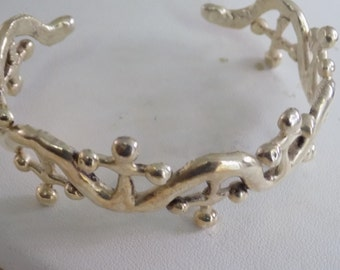 """Unique """"Crosses and waves"""" silver cuff bracelet, brutalist boho jewelry"""