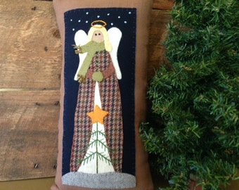 Primitive Folk Art Winter Angel Wool Linen Pillow