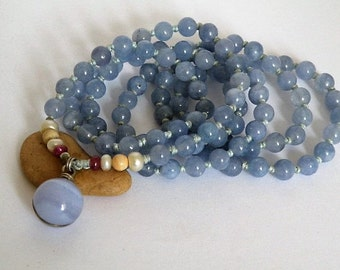 Blue lace Agate ball - Aquamarine 108 beads - gemstone mantra mala - Ruby - Freshwater Pearl  - Jasper - Sterling silver wire wrapped