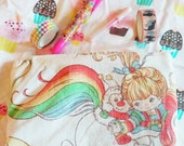 Rainbow Brite vintage 80s style upcycled rainbow zipper topped bag