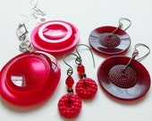 Red Vintage Button Earrings - Bold, Small, Dark Red Celluloid