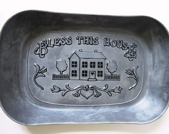 Bless This House Pewter Bread Tray Vintage Wilton Armetale