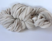 Handspun Chunky Yarn, Hand Painted  Thick and Thin Fine Merino Wool, Photo Prop, baby bump blanket, doll hair Slub Yarn Taupe 50 yards