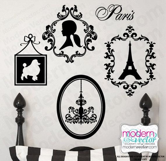 PARIS THEME Vinyl Wall Decals Eiffel Tower, Poodle, Silhouette, Chandelier PARIS