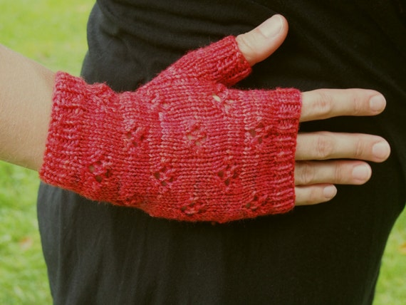 Pink Knit Fingerless Gloves - Texting Gloves - Knitted Wrist Warmers - Cute E...