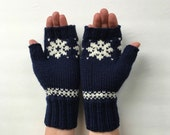 Fingerless Wool Mittens Texting Gloves Navy Blue with White Snowflake Trim