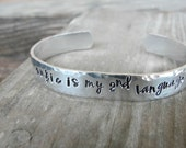 Music Jewelry, Musician's Jewelry, Music Bracelet, Gift for Music Lover's, Hand Stamped Bracelet, Music is My 2nd Language