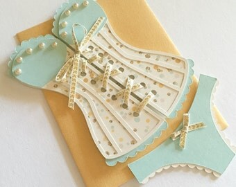 Lingerie Shower / Bridal shower - Corset invitation with panties, mint and gold, set of 6