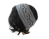 Womens Knit Headband, Lacy Headband, Grey Headband, Winter Accessory, Winter Fashion