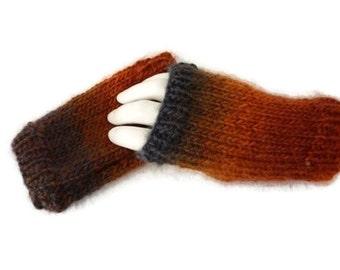 Womens Fingerless Gloves, Wool Knit Gloves, Winter Fingerless Gloves, Burnt Orange Gloves