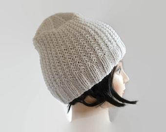 Unisex Winter Hat, Slouchy Tam Hat, Cream Winter Hat, Knit Hat, Winter Beanie, Unisex Beanie