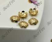 10 pcs 11mm 24K Gold plated Brass Simple Flower Bead Cap, Brass Bead Cap, Charms Jewelry Findings, Simple Bead Cap
