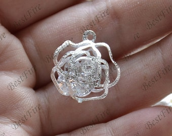 6 pcs Silver tone rose flower Filigree and crystal glass Jewelry pendant Connectors Setting,Connector Findings,Flower Filigree finding