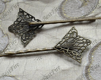 6pcs of Antique Bronze bobby pins filigree pad 55mm,hairpin findings,flower Hair finding,hair accessories,headband findings