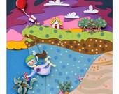 Animal Crossing Dive paper art print - photo reproduction