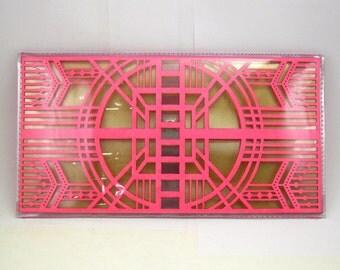 Neon Pink Cut Out Art Deco Clutch - Geometric Laser Cut Paper Clear Transparent Vinyl PVC Purse
