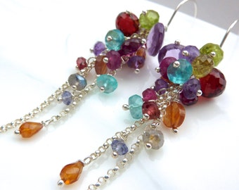 Exclusive Duo Chain Gemstone Cascade Chandelier Earrings in Sterling Silver