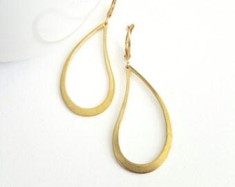 Golden Teardrop Dangle Earrings. Raw Brass Drop Earrings. Leverback Hoops