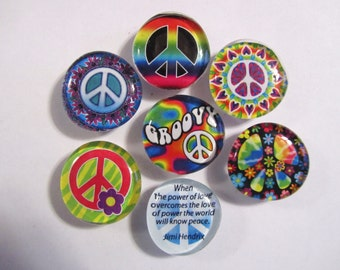 PEACE SIGN MAGNETS Super Strong Glass Bubble Magnets
