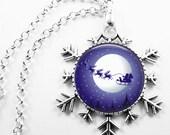 Christmas Necklace Christmas Jewelry Glass Tile Necklace Glass Tile Jewelry Blue Jewelry Holiday Necklace Holiday Jewelry Snowflake Jewelry