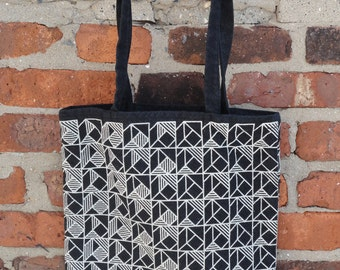 Hand-printed tote bag, quilt print, 100% cotton