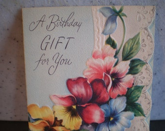 Vintage Mid Century Unused Greeting Card - A Birthday Gift For You