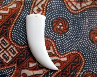 Large Tusk Bead in Carved Bone 52mm Drilled