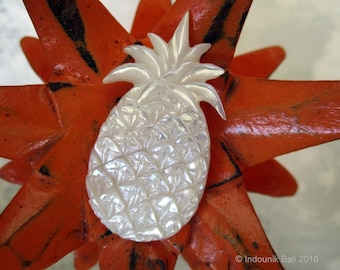 Pineapple Crush Cabochon in Carved Mother of Pearl Shell 50mm