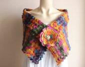 Crochet   Bridal Cape /Multicolor Wedding Wrap Shrug Bolero/Hand Crochet Sparkle Mohair Scarf with Gold Rhinestone Brooch-Ready to Ship