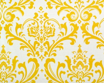 Custom Fully Lined Drapery Panels Set of 2 CORNFLOWER Yellow Traditions DAMASK