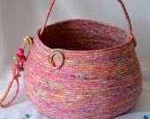 Magenta Pink Basket, Handmade Coiled Fabric Basket, Pink Batik Knitting Basket, Lovely Tote Bag, Beautiful Pink Batik Decorative Basket