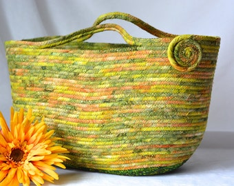 Batik Moses Basket, Handmade Green Fiber Basket, Moss Green Batik Tote, Hostess Gift Basket, Pantone Greenery Bali Fabric Moses Basket
