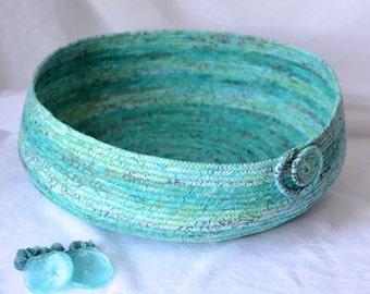 Turquoise Cat Bed, Handmade Coiled Fabric Basket, Modern Pet Bed, Aqua Green Fabric Basket,  Beautiful Batik Home Decor