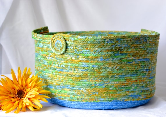 Green Decorative Basket, Handmade Batik Fiber Basket,  Green Batik Tote Bag, Hostess Gift Basket, Woodland Batik Moses Basket